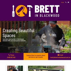Brett in Blackwood one page website